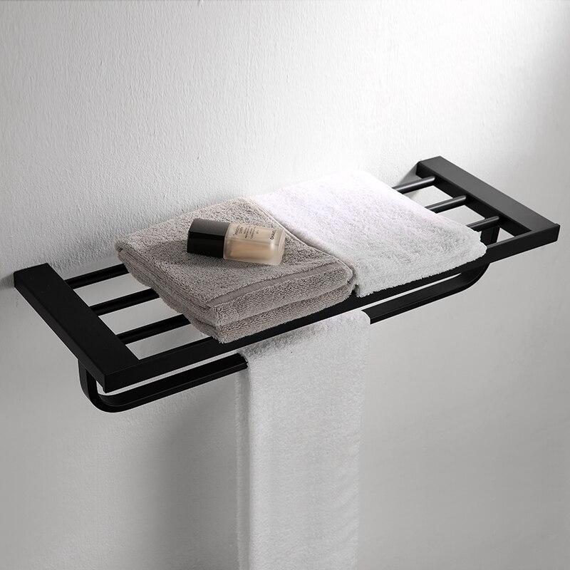 304 Stainless Steel Black Towel Rack 60cm Bathroom Toilet Towel Holders Wall Mounted European Bathroom Acccessories Towel Bar цена