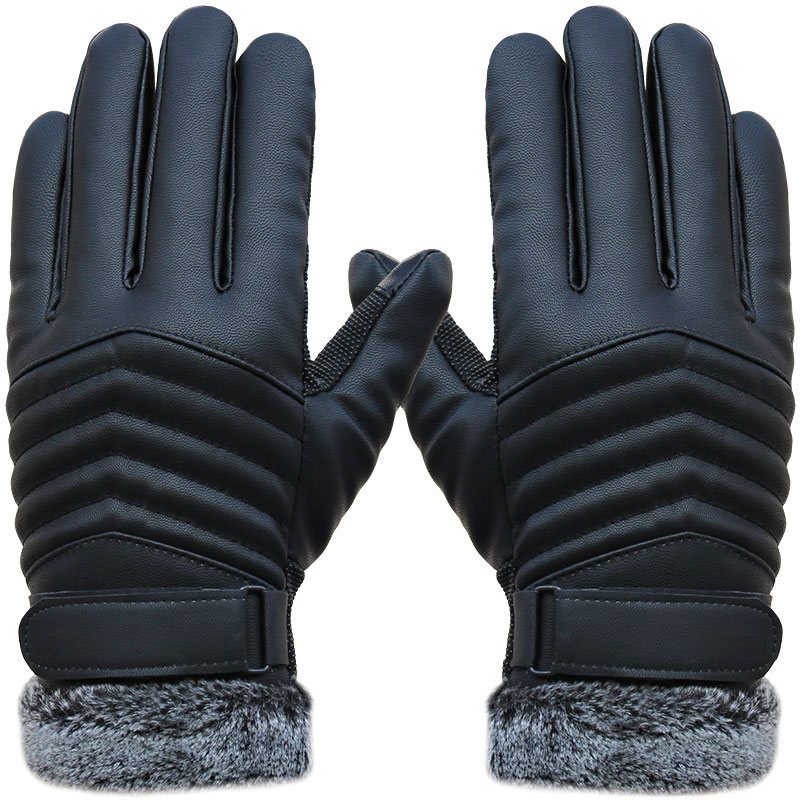 Man's Synthenic PU Gloves Winter Warm Gloves  Leather Gloves Five Finger Cut Wool Thicken Fur Gloves H9