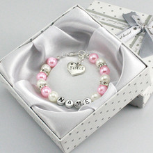 New Personalised Girl Birthday Wedding Gift Charm Bracelet Daughter With Box-light pink