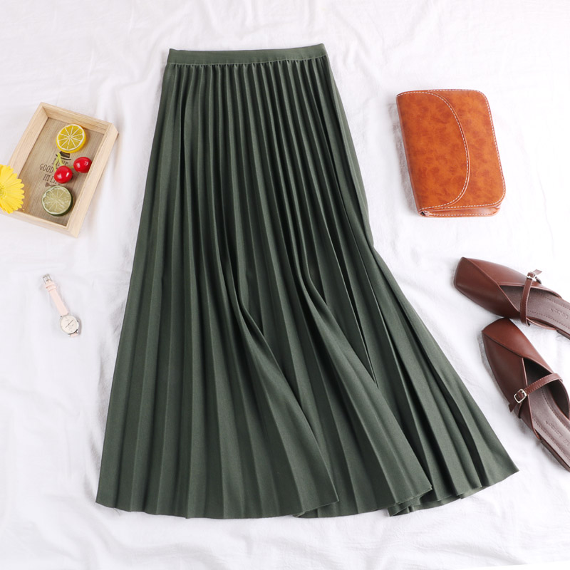 2019 New Spring Autumn Solid Color Large Pendulum Long Pleated Skirt Korean A-Line Elastic Waist tutu Skirt Women Maxi Skirts