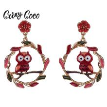 Cring Coco Korean Dangle Earring Circle Red Owl Big Drop Earings Fashion Boho Statement Jewelry Woman 2019 Party New Hot