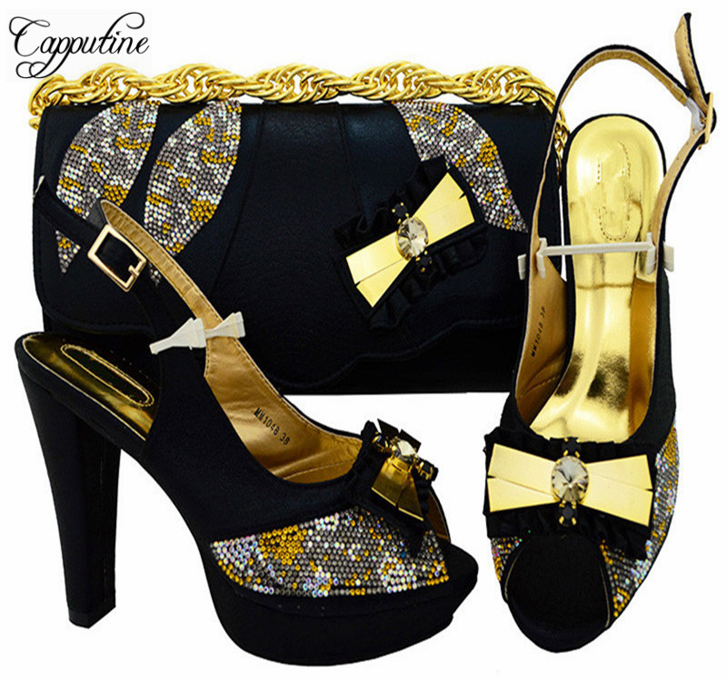 Capputine Italian Design Party Shoes With Matching Bags Set High Quality African Ladies Pumps Shoes And Bag Sets Stock MM1048 new fashion italian shoes with matching bags for party high quality african shoes and bags set with stones pumps shoes 1308 l60