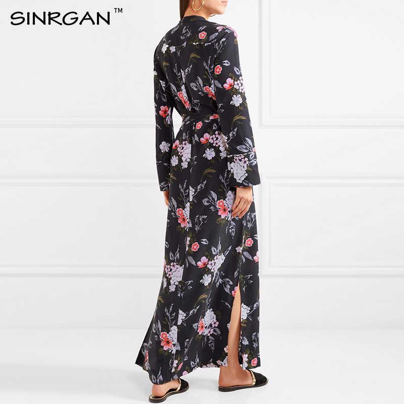 SINRGAN Elegent bobo с цветочным принтом Длинные платья женские свадебные платья сексуальное платье роковой платья Сплит Повседневные платья 2019 с поясом
