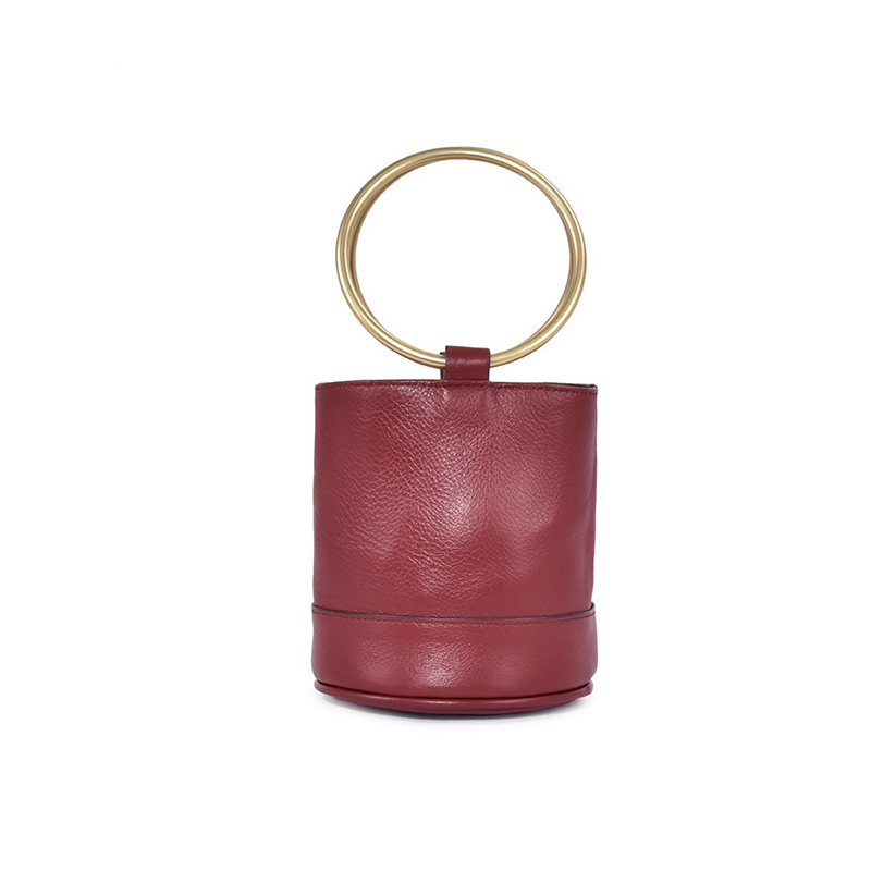 Women Handbag Mini Real Leather Bucket Small Tote Purse High Quality Barrel Shape Big Ring Handle