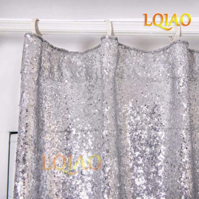 LQIAO 200x250cm Sequin Curtain Backdrop Silver Photo Sparkly Fabric For Home