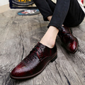 Spring crocodile men pointed shoes red wine groom wedding shoes British stylist increased shoes