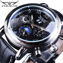 Jaragar Classic Black Moon Phase Roman Date Day Genuine Leather Multifunction Automatic Mens Mechanical Watches Business Relogio все цены