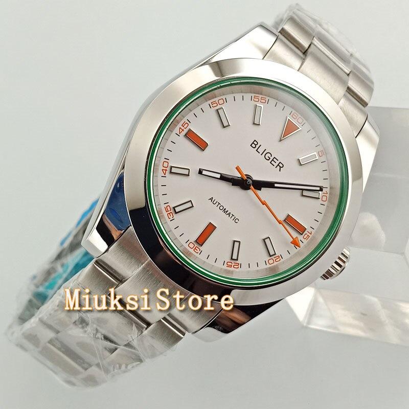 40mm White Dial Sliver pasek ze stali nierdzewnej biznes mężczyzn zegarek zegarek W2760 w Zegarki mechaniczne od Zegarki na  Grupa 1