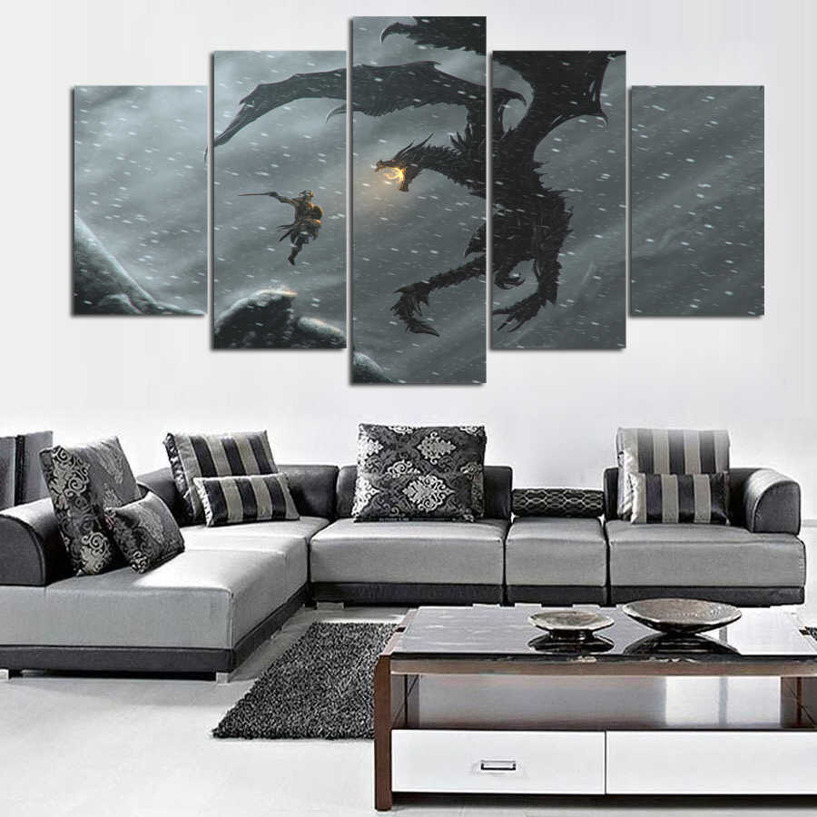 Detail Feedback Questions About 5 Piece Canvas Painting Alduin The World Eater Dovahkiin Skyrim Picture Home Decor Print Frame Wall Art WE 1554 On