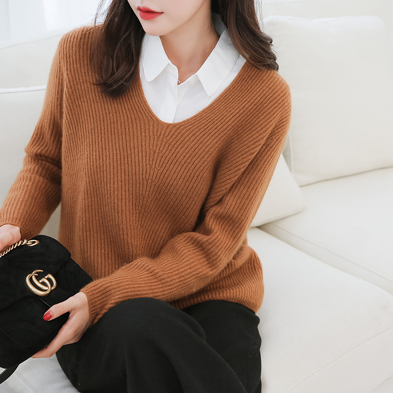 High Quality Soft Sweater Women 5Colors Vneck Loose 100 Pure Goat Cashmere Knitted Pullover Winter New