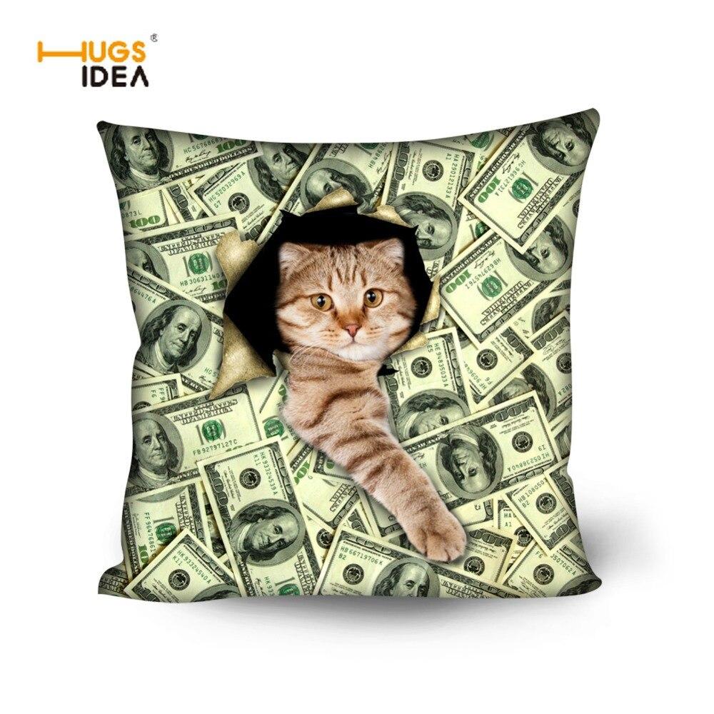 HUGSIDEA 45*45cm Cushion Cover Home Decor Cute Animal Cat Prints Almofada Pillow Covers for Children Vintage Throw Pillow Case