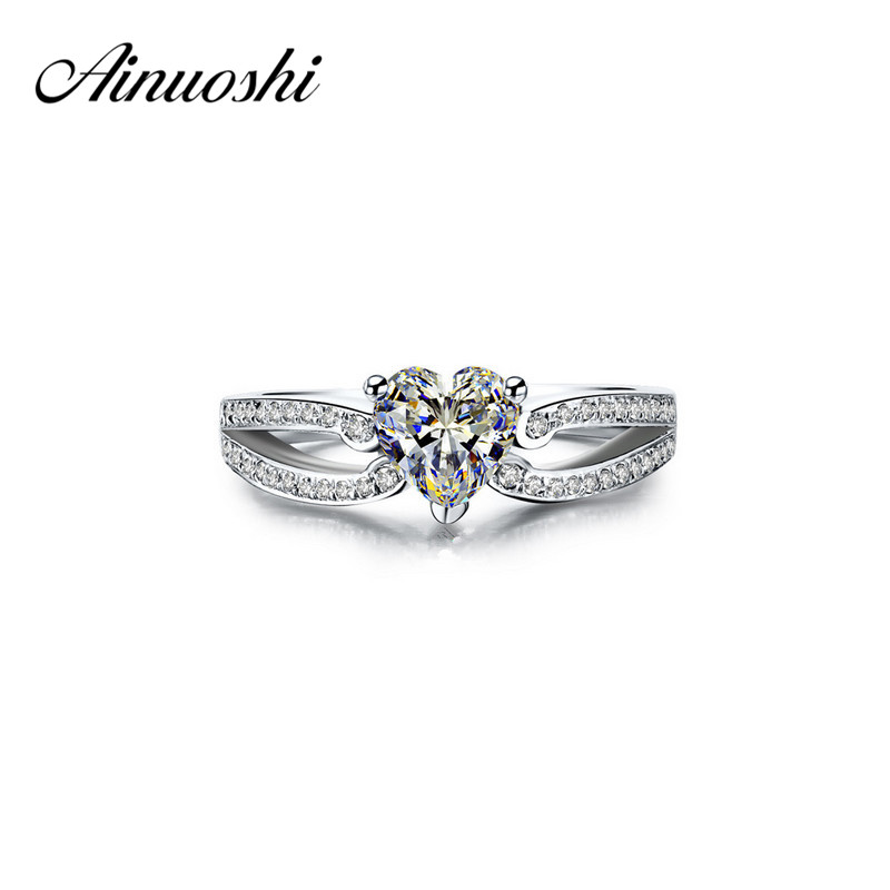 AINUOSHI 925 Sterling Silver Engagement Rings 3 Carat Heart Ring Wedding Band Ring Love Female Aneis