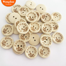 100PCS/lot Three Style Natural Color Wooden Buttons Handmade with Love DIY Supplies Letter Craft Decorative