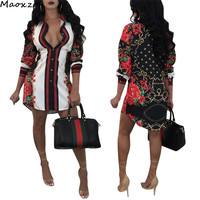 Maoxzon Womens Print Fashion Long Blouses Shirts For Female 2018 New Long Sleeve Open Stitch Sexy