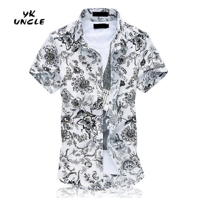 d26e3e5f 2016 Floral Printed Flower Men Shirts Short Sleeve Fashion Casual Chemise  Homme Camisa Masculina Plus Size