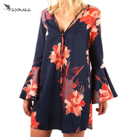 FLYMALL Sexy V-neck floral printed dresses Flare Sleeve Elegant Vestidos 2017 women's summer party bohemian bandage Loose dress