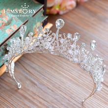 Himstory Vintage Handmade Clear Rhinestones Crystal Wedding Tiara Crown Princess Headband Bridal Headpiece Hair accessories