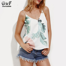 Dotfashion V Back Palm Leaf Print Cami Top Summer V Neck Spaghetti Strap Sexy Vest Women's Casual Vest With Lining