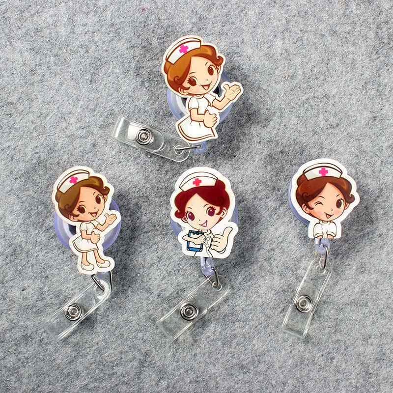 Girls Retractable Plastic Cute Beautiful Nurse Badge Holder Reel Nurse For Exhibition ID Enfermera Name Card Hospital Chest card