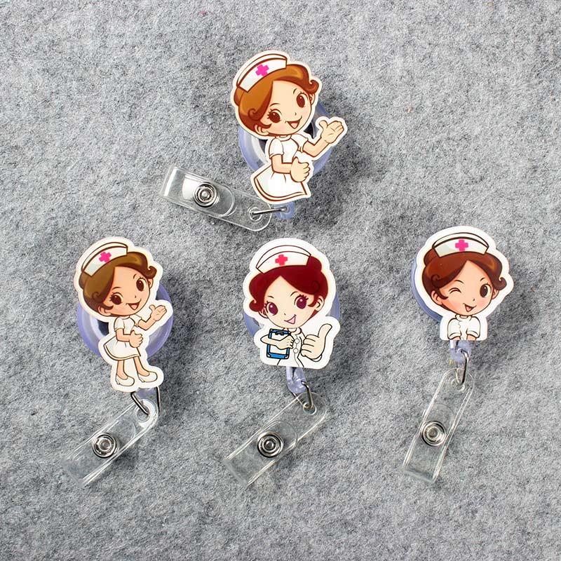Girls Retractable Plastic Cute Beautiful Nurse Badge Holder Reel Nurse For Exhibition ID Enfermera Name Card Hospital Chest Card