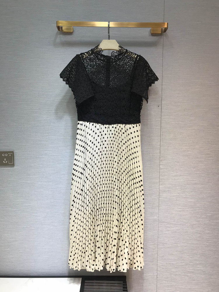 women fashion 2019 stand neck lace patchwork dresses at190160