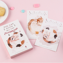 30 Pcs/box Sleeping cat greeting card blessing message cards birthday  postcard gift