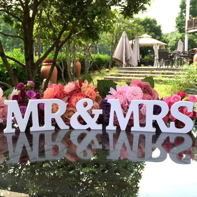 Generic Mr And Mrs Letters Wedding Decoration/Present White Color Bride And Groom  Table Decoration