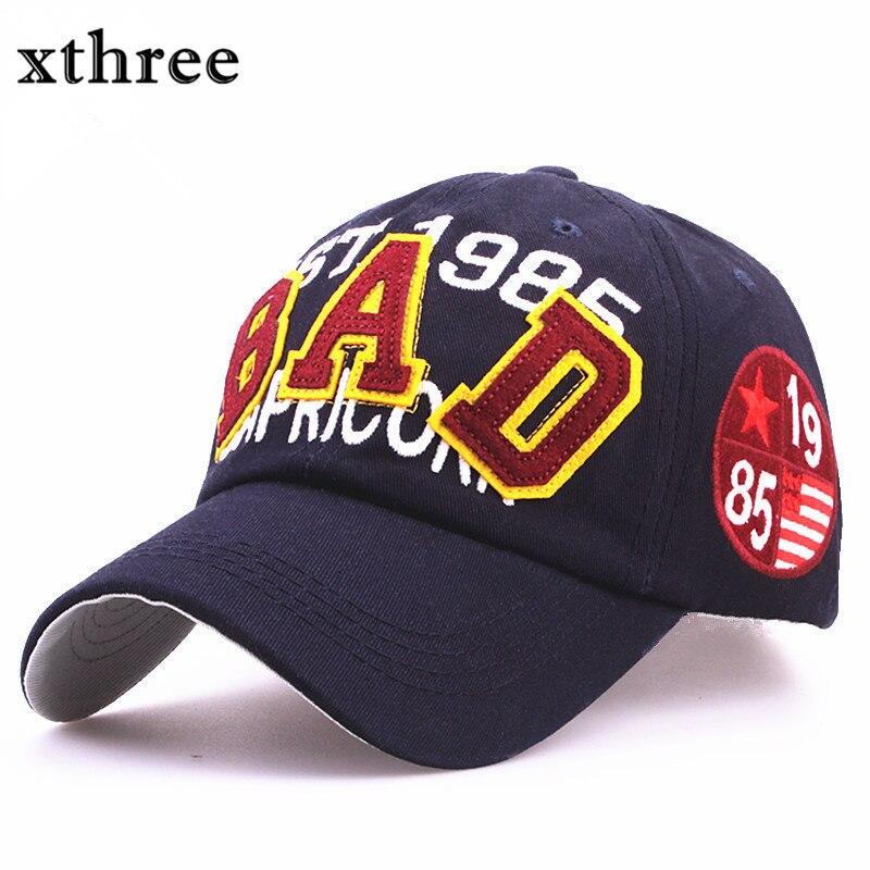 Prix pour Xthree nouvelle mode cap été automne Coton Casual snapback Hat pour hommes Baseball Cap femmes