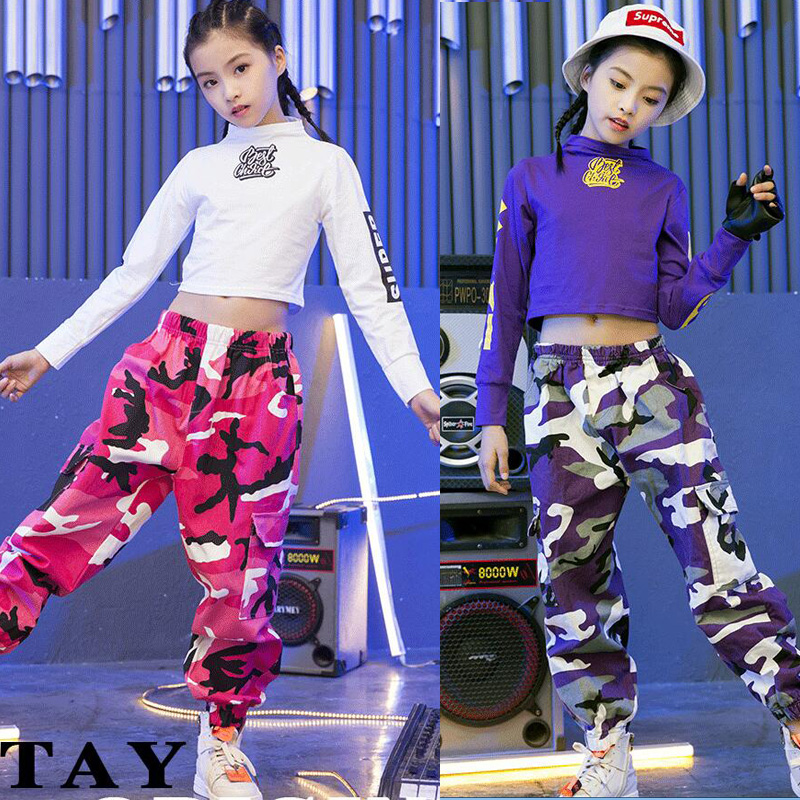 Kids Hip Hop Clothing Girls Camouflage Pants Sweatshirt Tops Jazz Dance Costumes Ballroom Dancing Clothes Street Wear Outfits
