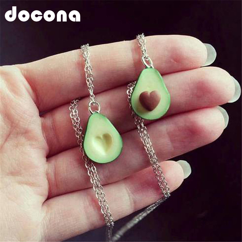 Docona Cute Avocado Shape Pendant Necklace For Women Girl Fruit Shape Chains Charms Necklace Party Gifts 6046