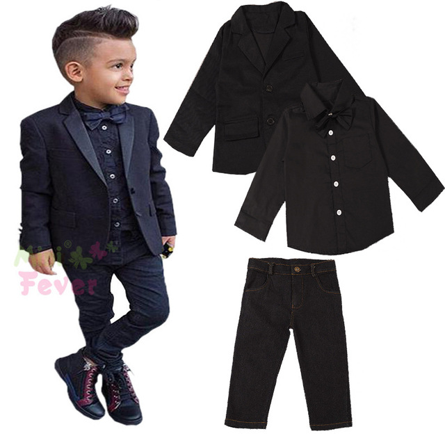 American Fashion Little or Big Boys 3-8Years Clothing Suits Long Sleeve Shirt+ Jeans+ Jacket 3pcs Clothese Sets Vetement Garcon