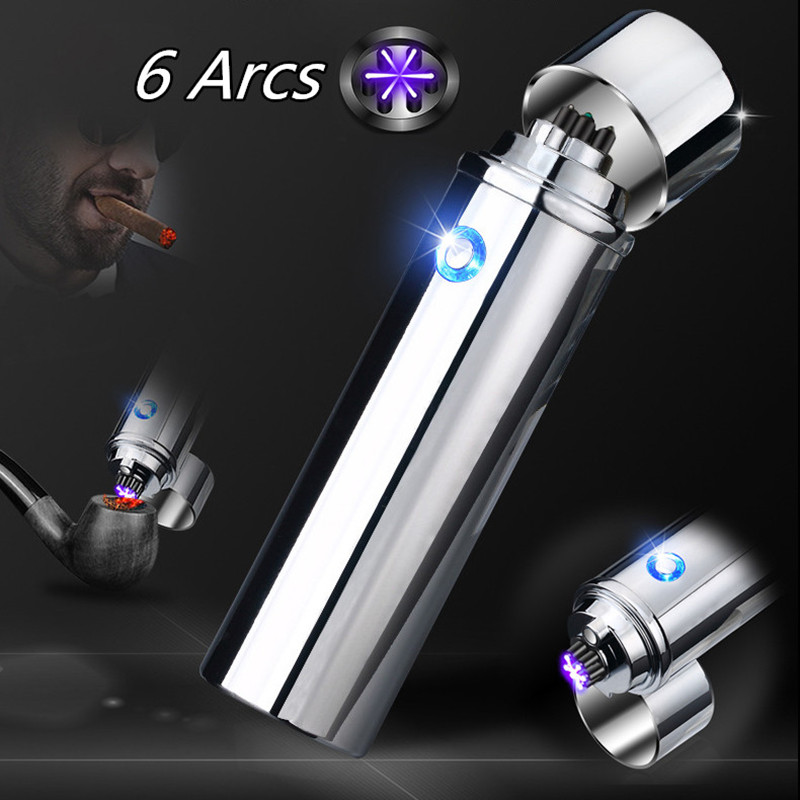 New Cigar USB Lighter Electric 6 Pulse Arc Tobacco Pipe Lighter Cigarette Powerful Six Plasma Thunder Metal Cigarette Accessory-in Cigarette Accessories from Home & Garden