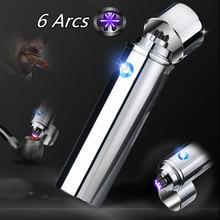 New Cigar USB Lighter Electric 6 Pulse Arc Tobacco Pipe Lighter Cigarette Powerful Six Plasma Thunder Metal Cigarette Accessory