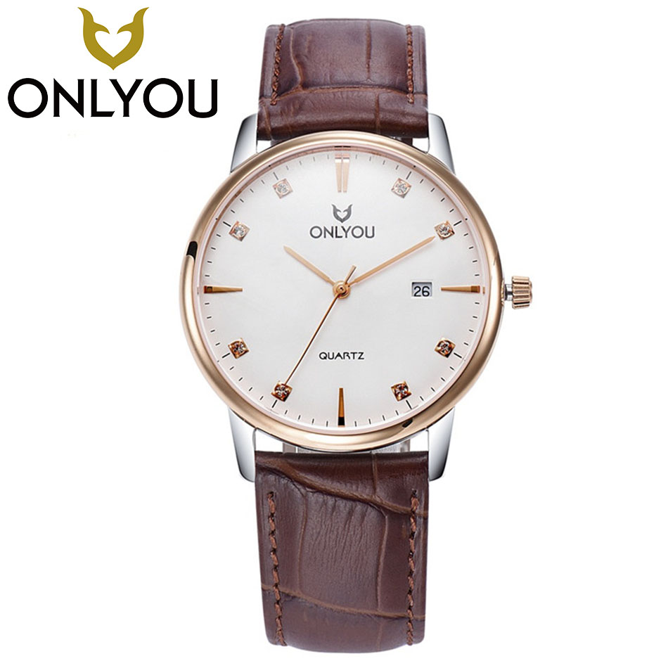 ONLYOU Fashion Lovers Watches 50M Waterproof Mens Quartz Wristwatches Top Brand Luxury Clock Simple Casual Leather Strap watch onlyou lovers quartz watches luxury men women fashion casual watch 50m waterproof simple ultra thin design wristwatches
