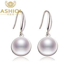 ASHIQI Natural white Freshwater Pearl Dorp Earrings Real 925 Sterling Silver jewelry for women