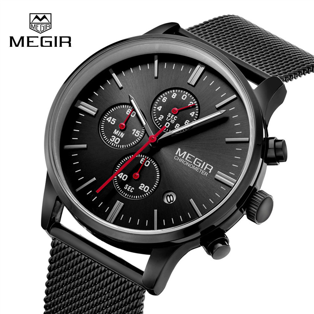 Genuine MEGIR 2011 Watches men simple stylish Top Luxury brand Stainless Steel Mesh strap band Quartz-watch thin Dial Clock man fashion simple stylish luxury brand crrju watches men stainless steel mesh strap thin dial clock man casual quartz watch black