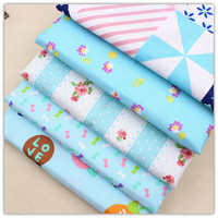 Free shipping 5 styles mixed with 50cm * 50 cm cartoon cotton fabric, DIY handmade cotton, textile weaving 15060409.