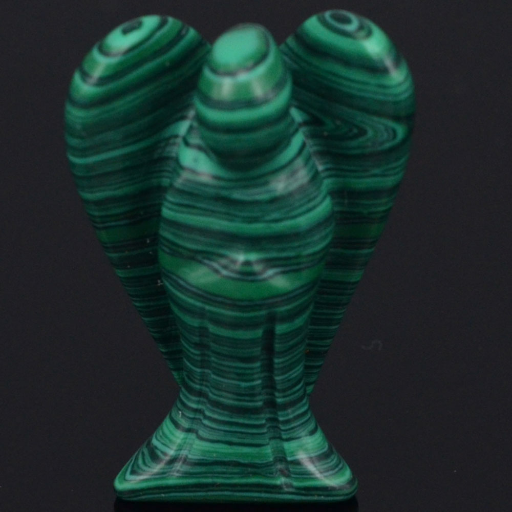 """2/"""" Green Taiwan Turquoise Carved Angel Statue Reiki Healing Figurine Crafts"""