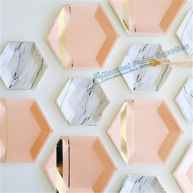 72pcs Hexagon Paper Plates Pastel Pink Marble u0026 Gold Foil Hexagon Small Party Paper Plates for & 72pcs Hexagon Paper Plates Pastel Pink Marble u0026 Gold Foil Hexagon ...