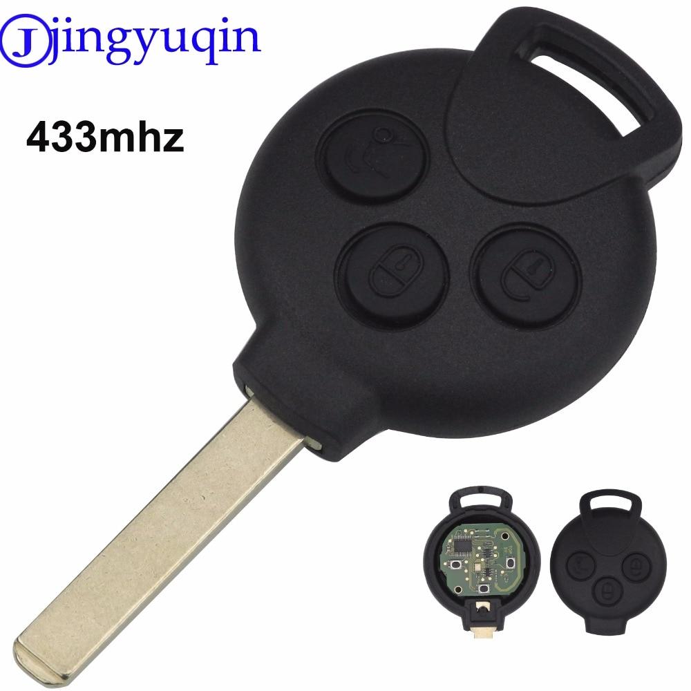 Jingyuqin À Distance Key Case Cover Verrouillage Fob 3 Boutons Pour MERCEDES BENZ Smart Fortwo 434 MHZ Clé De Voiture À Distance