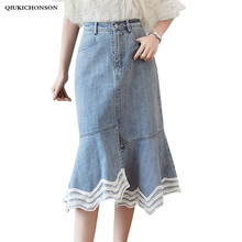 High Waist Long Denim Skirt Women Front Slit Irregular Lace Hem Patchwork Ruffle Jeans Skirts Ladies Slim Hip Wrap Skirt saias недорого