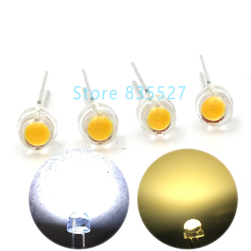 100pcs/lot LED 5MM F5 Warm White / White 0.25W Super Big Chip Bright Strawhat Light Emitting Diode Chandelier Crystal Lamp DIP