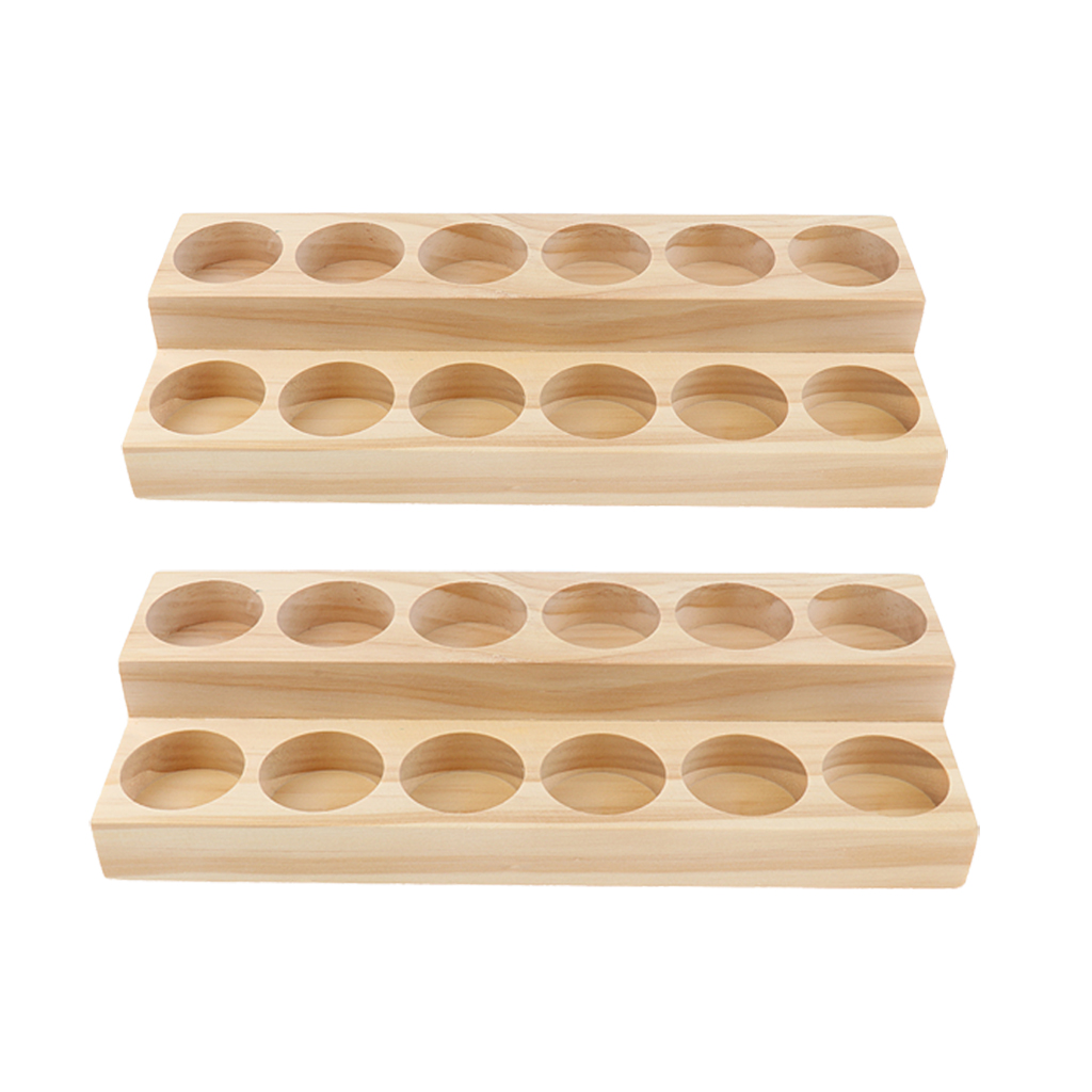 Wood Essential Oils Display Storage Stands, 2 Pieces(24 Slots), for Home Collection and Salon Retails