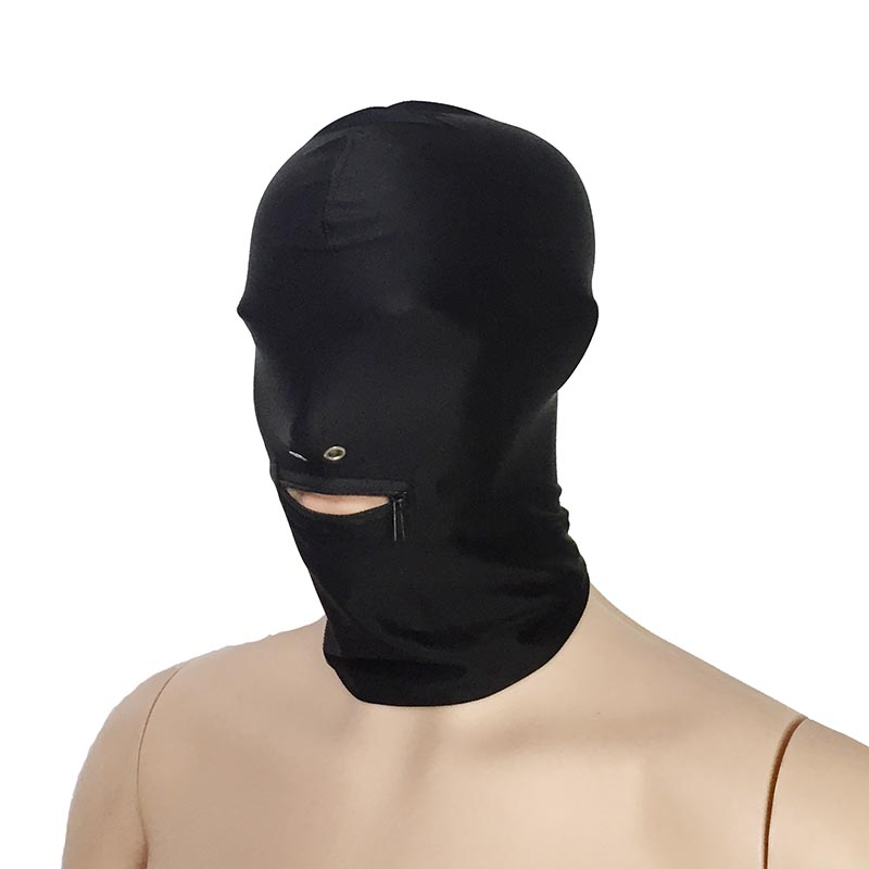 Unisex Black Spandex Zip Mouth Head Enclosure Stretchy Hood with Nose Holes Restraint Mask Halloween Role Play Costume