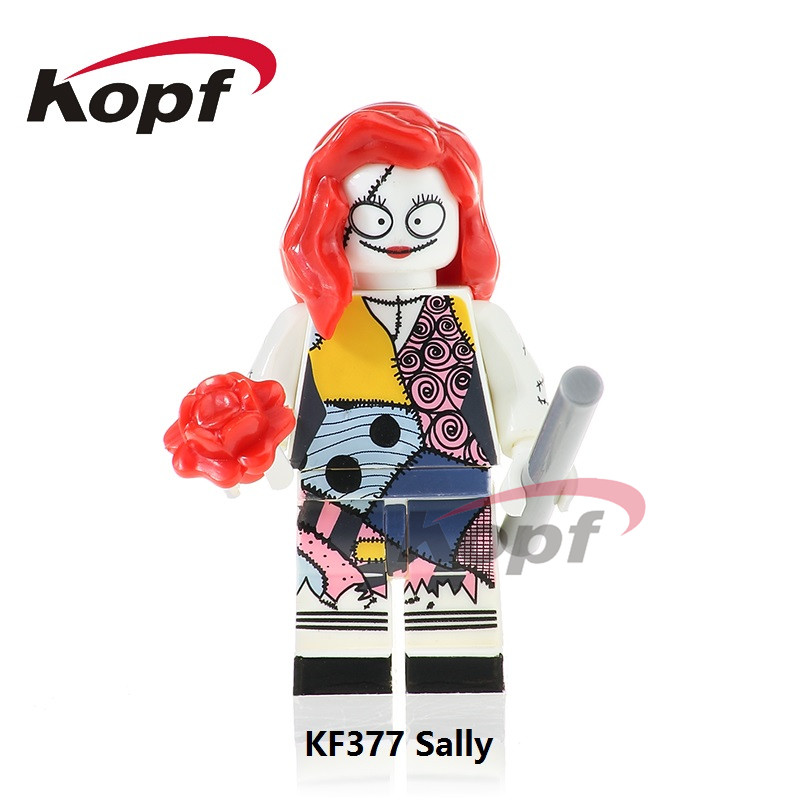 Snigle Sale KF377 The Horror Theme Movie Halloween Sally Foxmask Zombie Jeepers Creepers Building Blocks Children Gift Toys plastic standing human skeleton life size for horror hunted house halloween decoration