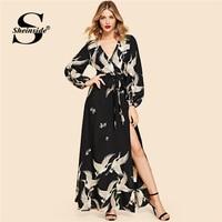 Sheinside Black Elegant Crane Print Dress Women 2019 Spring Casual V Neck Belted Dresses Ladies Sexy Split Side Maxi Dress