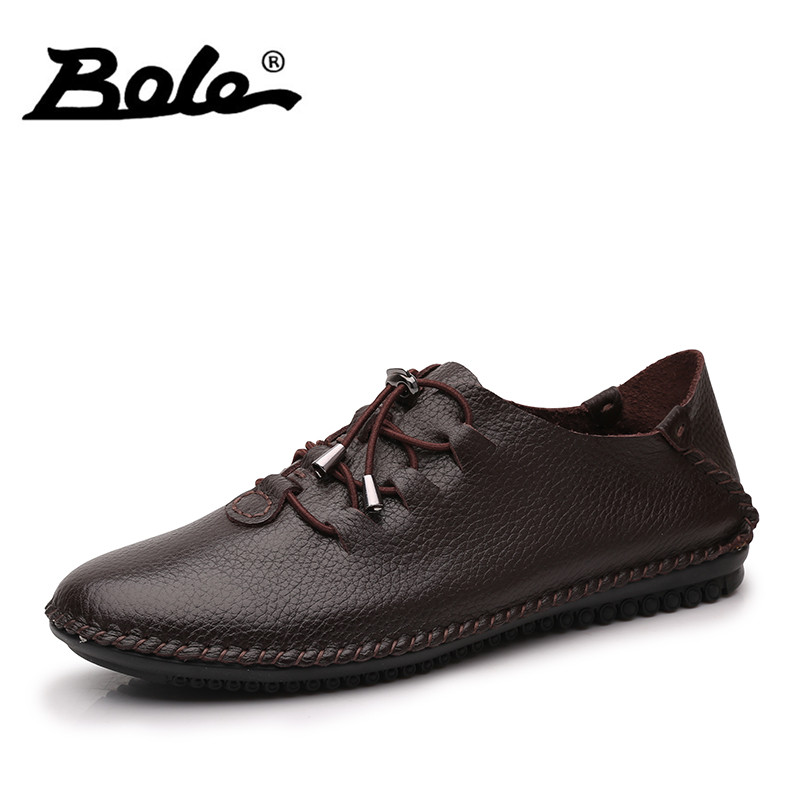 BOLE Fashion Design Lace Up Men Casual Shoes New Comfort Handmade Moccasins Shoes Men Flats Loafers Men Footwear Big Size 35-48 girls fashion punk shoes woman spring flats footwear lace up oxford women gold silver loafers boat shoes big size 35 43 s 18