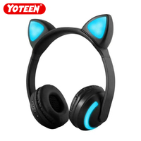YOTEEN Cat Ear Headphone Wireless Bluetooth LED 7 Colors Glowing Cosplay Headsets with Microphone for Mobile Phone PC Tablet MP3