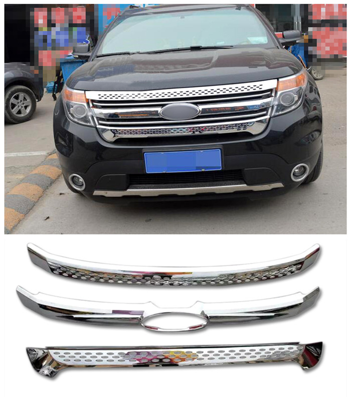 For Ford Explorer 2011 2012 2013 2014 ABS Chrome Front Center Grille Grill Cover Trim 3pcs/set