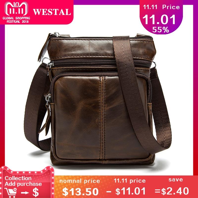 WESTAL Messenger Bag Men Shoulder bag Genuine Leather Small male man Crossbody bags for Messenger men Leather bags Handbags M701 1